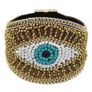 GORGEOUS rice beads evil eye bracelet
